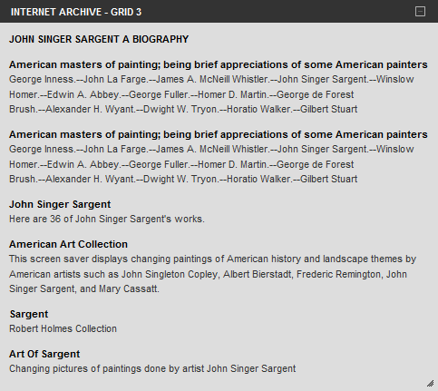 Internet Archive results for John Singer Sargent